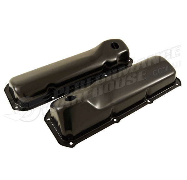 NO LOGO FORD CLEVELAND 302 351 CHROME BLACK STEEL VALVE ROCKER COVERS PAIR