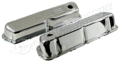 302 LOGO FORD WINDSOR CHROME STEEL VALVE ROCKER COVERS PAIR