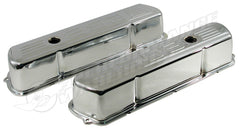 253 LOGO HOLDEN V8 CHROME STEEL VALVE ROCKER COVERS TALL DESIGN PAIR