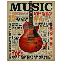 MUSIC INSPIRES ME - LARGE METAL TIN SIGN 40.6CM X 31.7CM GENUINE AMERICAN MADE
