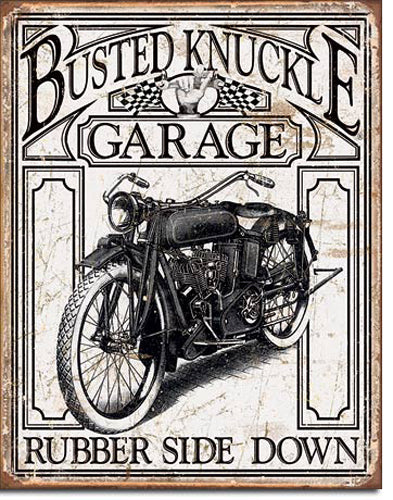 BUSTED KNUCKLE VINTAGE RUBBER - LARGE METAL TIN SIGN 31.7CM X 40.6CM GENUINE AMERICAN MADE