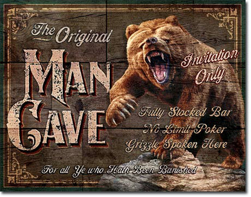 MAN CAVE - THE ORIGINAL - LARGE METAL TIN SIGN 31.7CM X 40.6CM GENUINE AMERICAN MADE