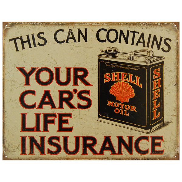 SHELL MOTOR OIL - YOUR CAR'S ... - LARGE METAL TIN SIGN 31.7CM X 40.6CM