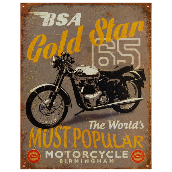 BSA GOLD STAR 65 THE WORLD'S MOST POPULAR...- LARGE METAL TIN SIGN 40.6CM X 31.6
