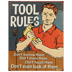 TOOL RULES - LARGE METAL TIN SIGN 31.7CM X 40.6CM GENUINE AMERICAN MADE