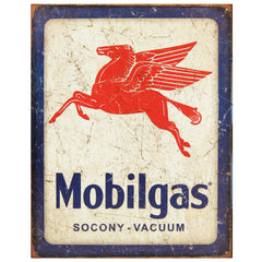 MOBIL - PEGASUS - LARGE METAL TIN SIGN 31.7CM X 40.6CM GENUINE AMERICAN MADE