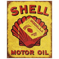 SHELL MOTOR OIL - LARGE METAL TIN SIGN 31.7CM X 40.6CM GENUINE AMERICAN MADE