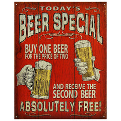 TODAY'S BEER SPECIAL - LARGE METAL TIN SIGN 31.7CM X 40.6CM