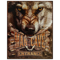 MAN CAVE WOLF - LARGE METAL TIN SIGN 31.7CM X 40.6CM GENUINE AMERICAN MADE