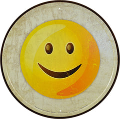 EMOJI - SMILING - ROUND METAL SIGN 29.8CM DIAMETER GENUINE AMERICAN MADE