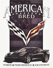 CORVETTE - AMERICAN BRED - LARGE METAL TIN SIGN 31.7CM X 40.6CM