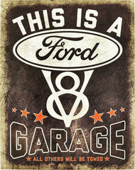 FORD GARAGE - LARGE METAL TIN SIGN 31.7CM X 40.6CM