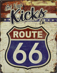 ROUTE 66 KICKS - LARGE METAL TIN SIGN 31.7CM X 40.6CM