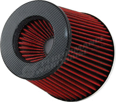 ZENZO RACING 3 INCH 77MM PERFORMANCE POD AIR FILTER CARBON TOP RED FILTER