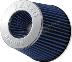 ZENZO RACING 3 INCH 77mm PERFORMANCE POD AIR FILTER CHROME TOP BLUE FILTER