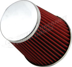 ZENZO RACING 3 INCH 77mm COBRA AIR FILTER CHROME TOP RED FILTER