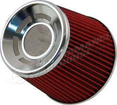 ZENZO RACING 3 INCH 77mm BLITZ STYLE AIR FILTER CHROME TOP RED FILTER