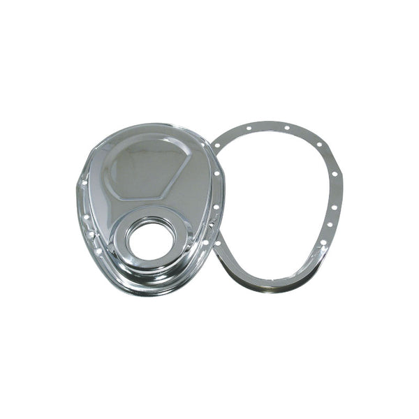 SB CHEVY 2 PIECE CHROME STEEL TIMING COVER 327 350