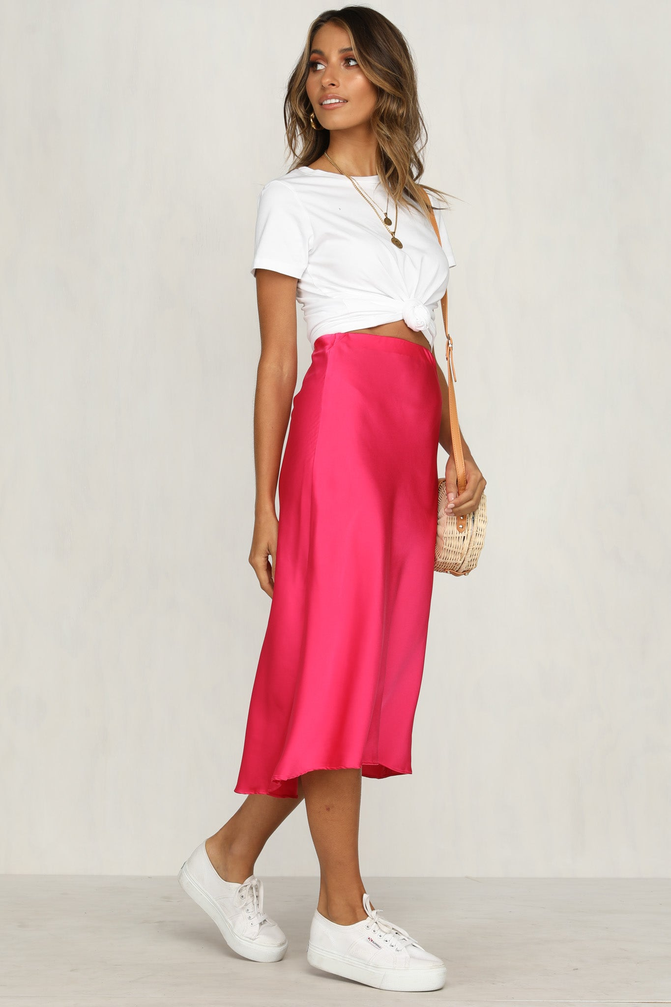 Smooth Operator Midi Skirt (Fuchsia)