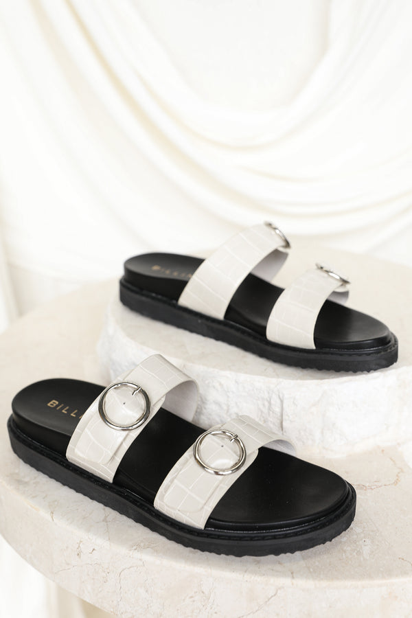Ziba Slide (White Croc)