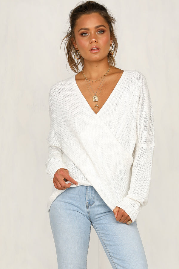 Double Cross Knit Top (White)