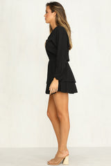 Savannah Ruffle Dress (Black)