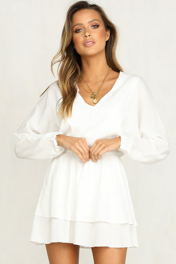 Savannah Ruffle Dress (White)