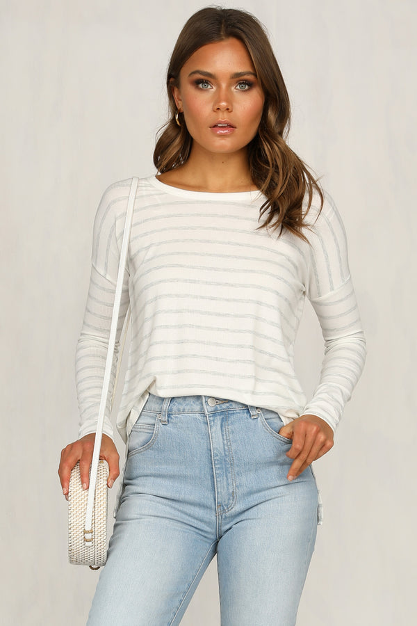 Sydney Rib Top (Grey Stripe)