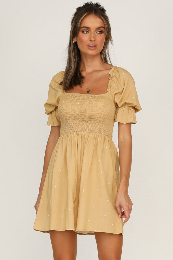 Chateau Dress (Tan Spot)