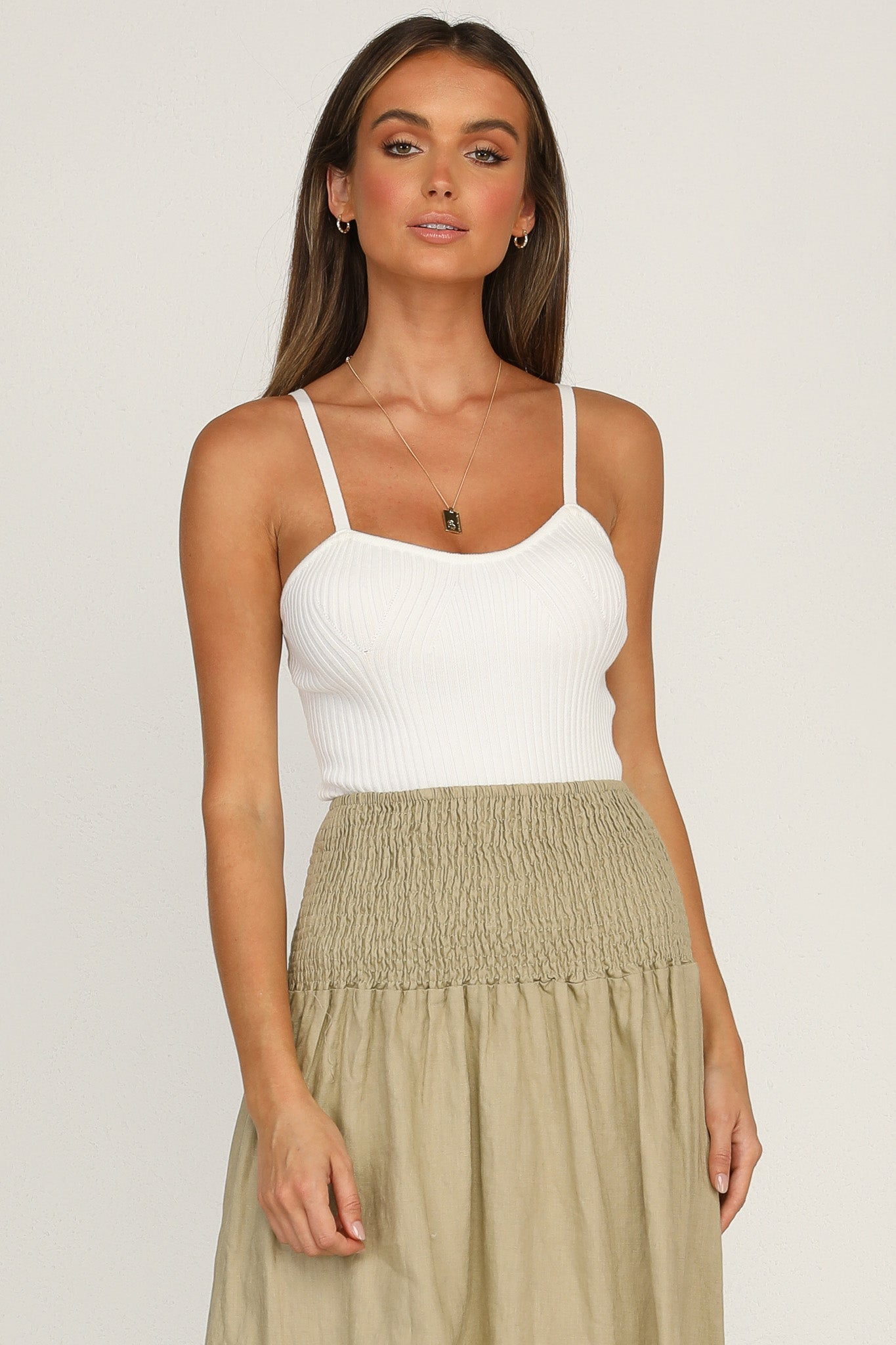 Eleanor Knit Cami (White)