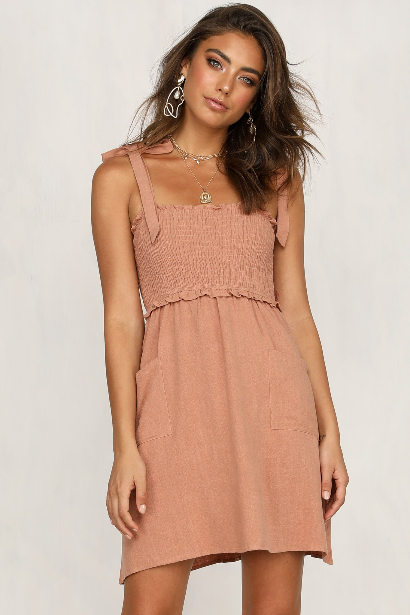 Watch And Learn Dress (Tan)