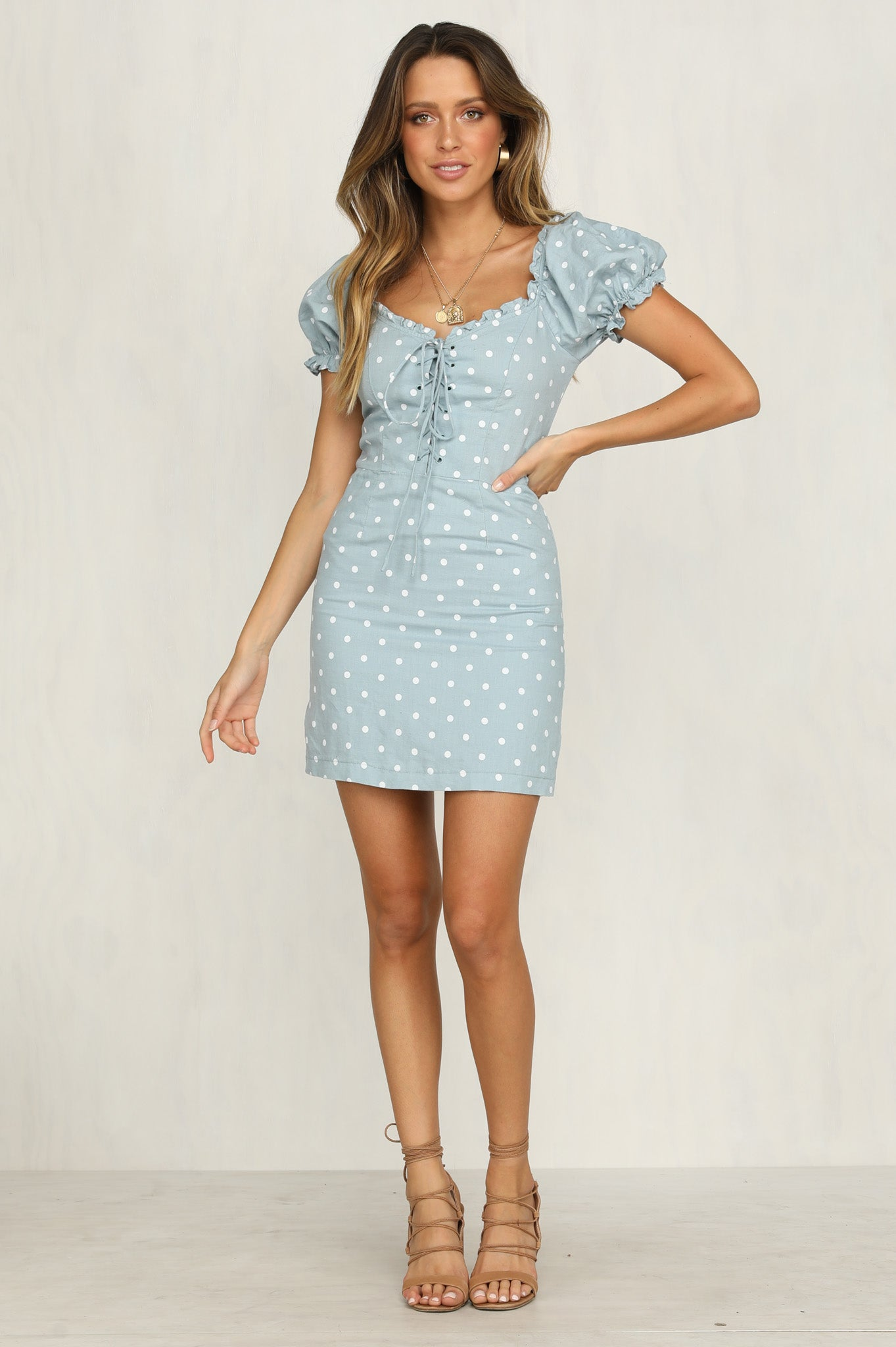 Las Palma Dress (Blue Polka)