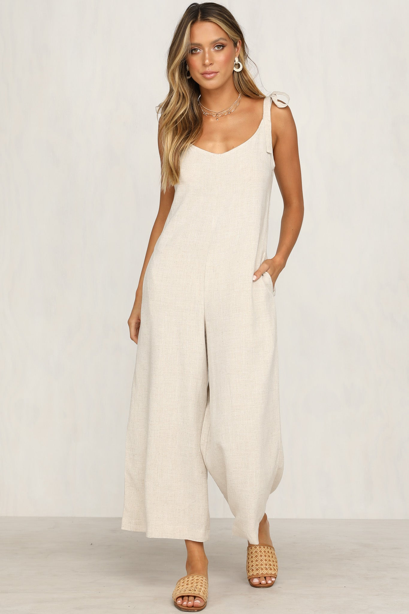 One More Time Jumpsuit (Beige)