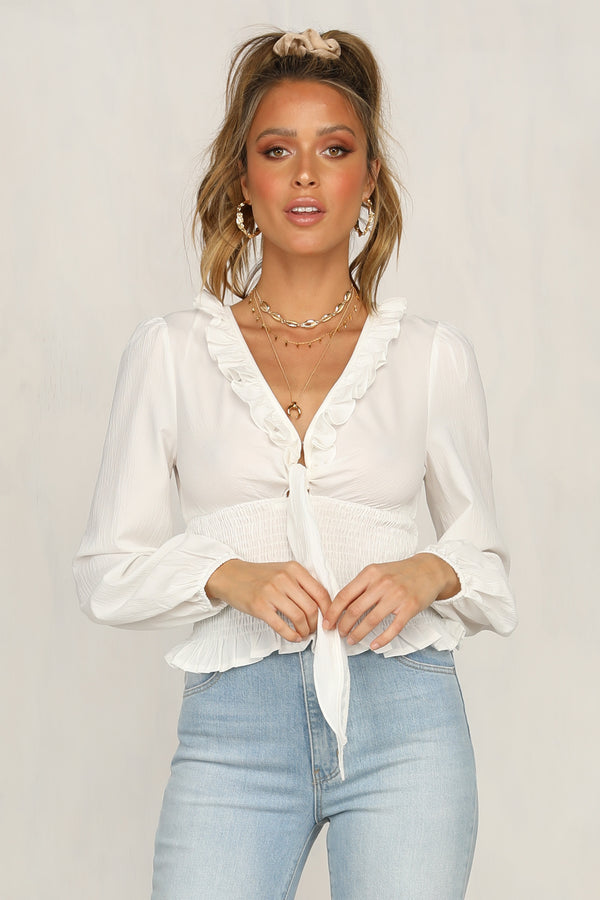 Stealing Kisses Top (White)