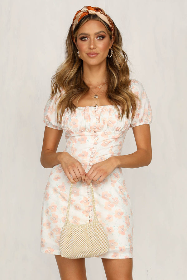 Maggie May Dress (Peach Floral)