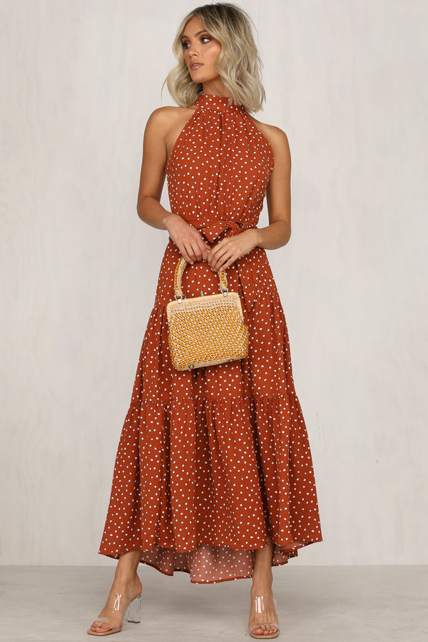 Sake Of Romance Dress (Rust Polka)
