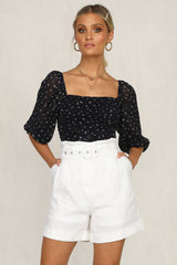 Millicent Top (Black Floral)