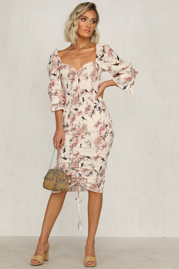 Evangelie Dress (Beige Floral)