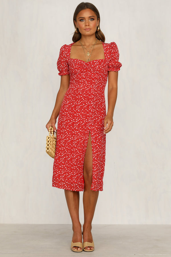 Crossed Signals Dress (Red Floral)