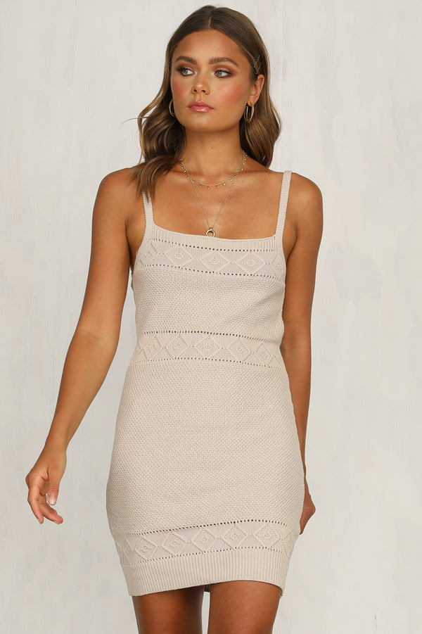 Rose Knit Dress (Beige)