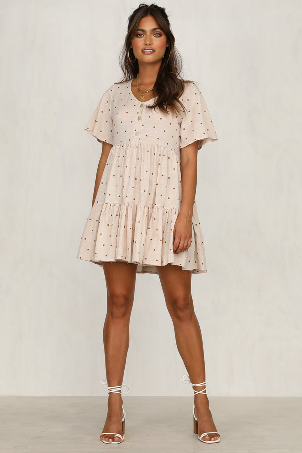 Mixed Feelings Dress (Beige)
