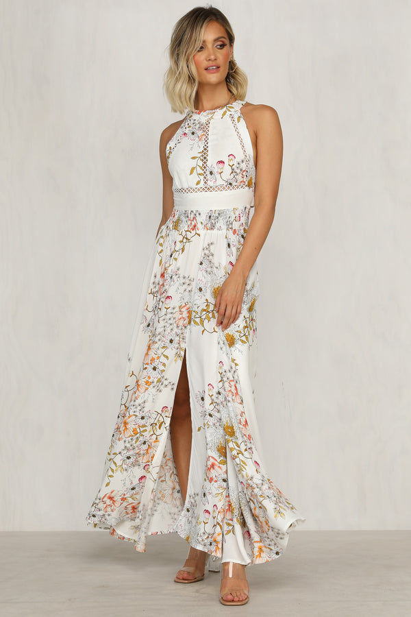 Too Late Maxi Dress (White Floral)