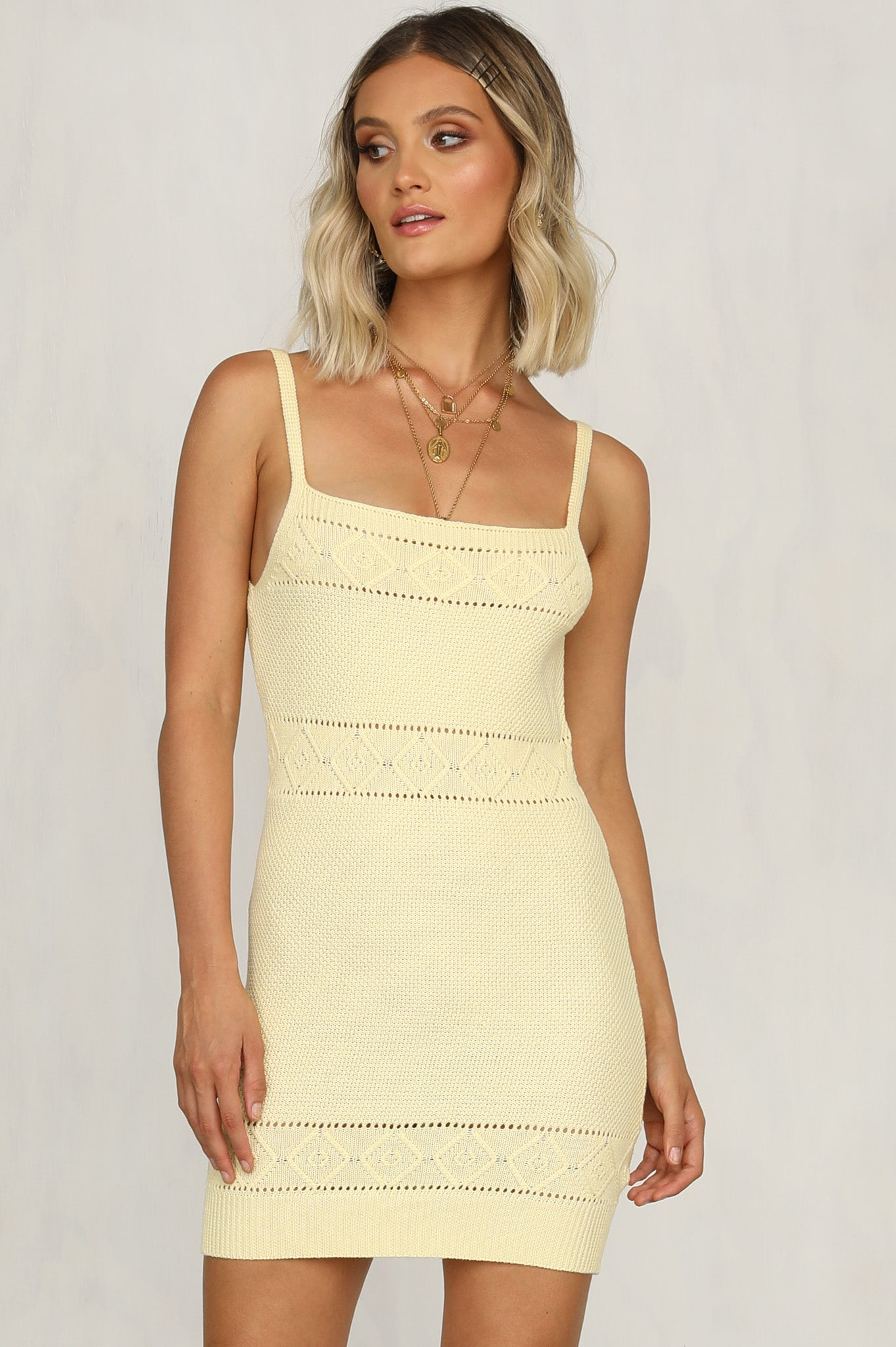 Rose Knit Dress (Lemon)