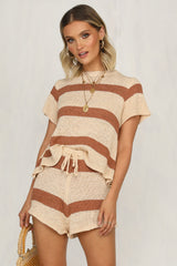 Cabello Knit Set (Tan Stripe)