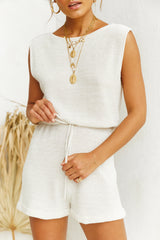Cannes Knit Playsuit (Beige)