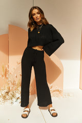 Baha Ribbed Knit Pants (Black)