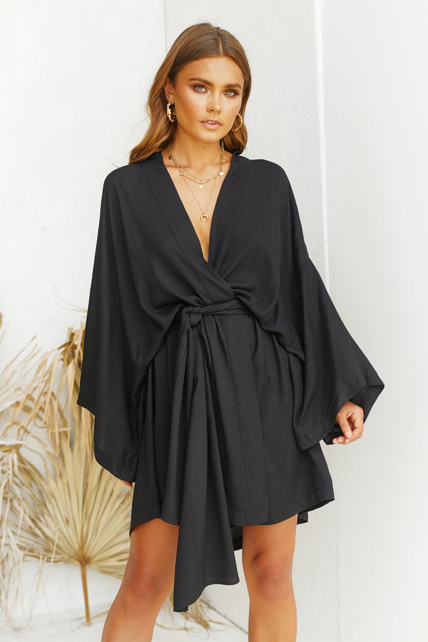 Divine Wrap Dress (Black)