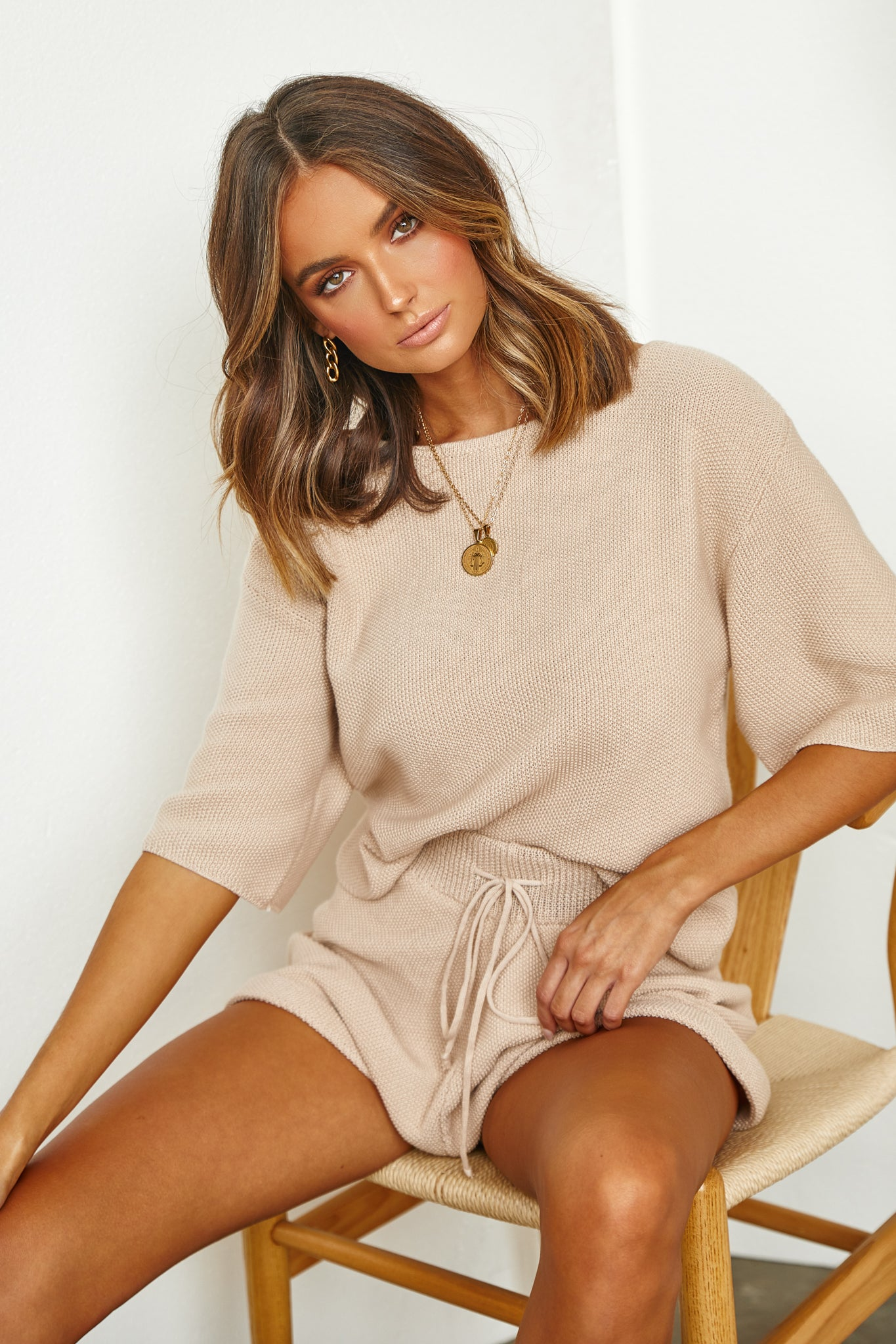 Lottie Knit Top (Beige)