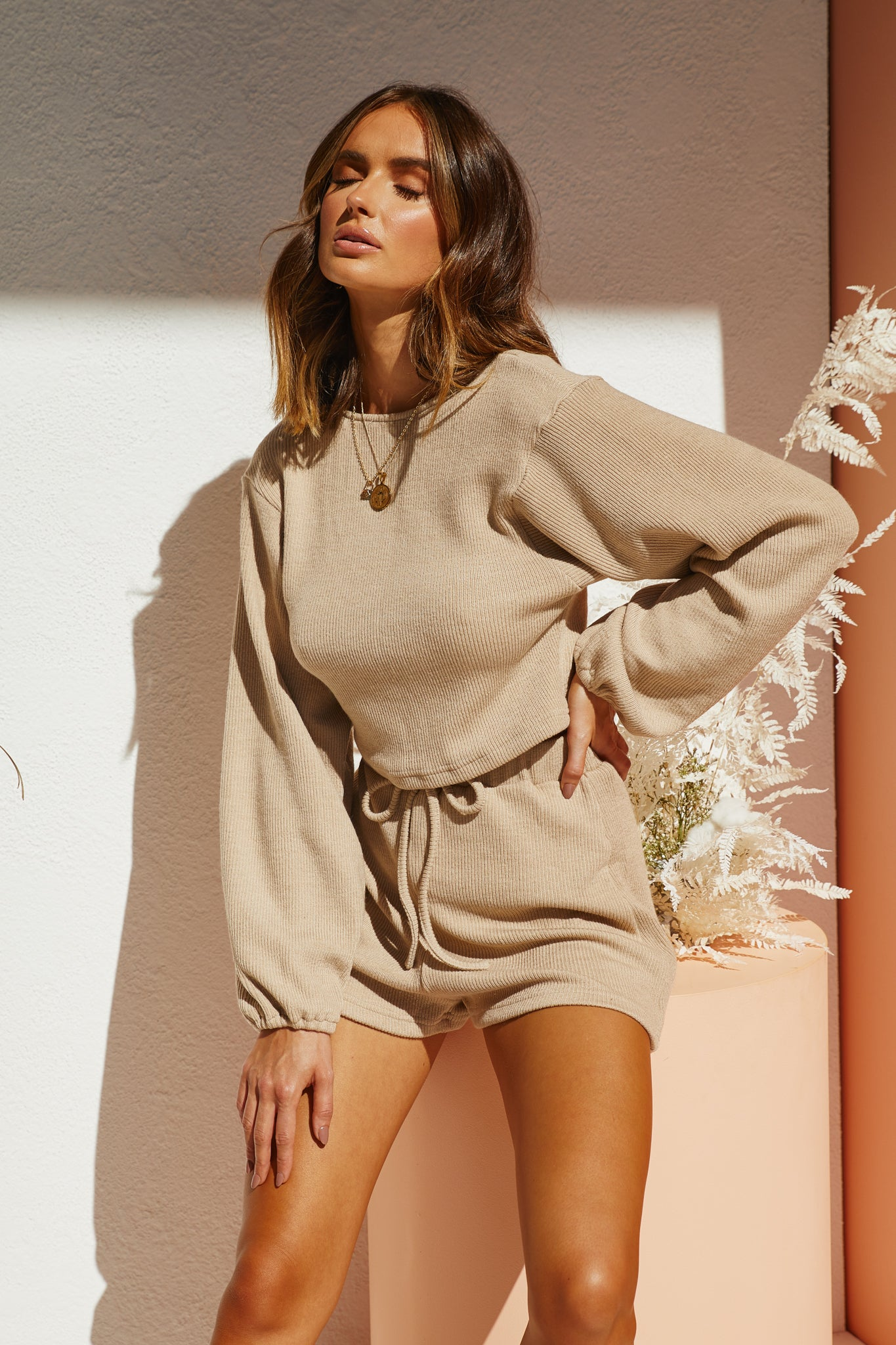 Versailes Knit Top (Beige)