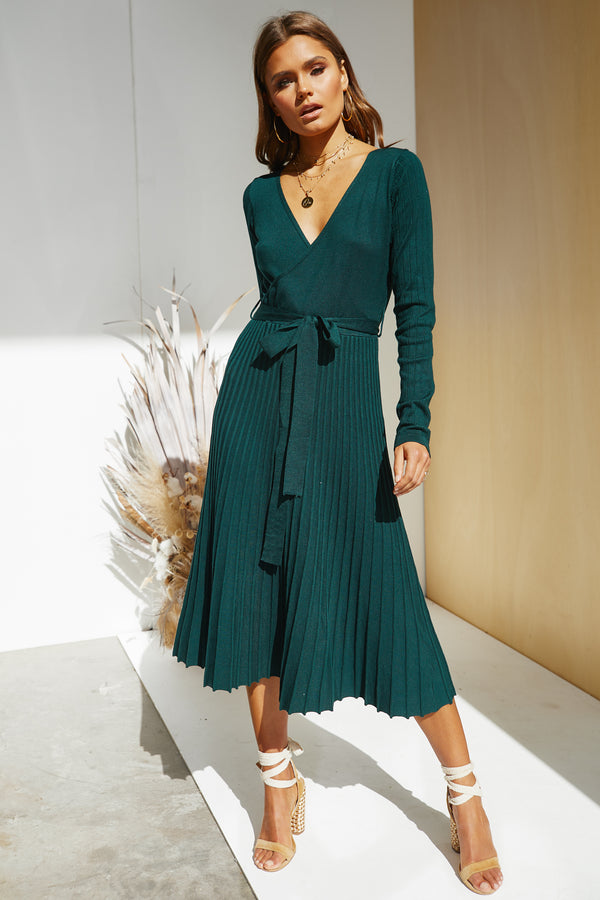 Florence Knit Dress (Emerald)